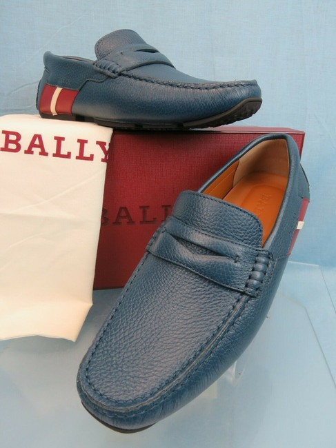 Item - Blue Piotre Grained Leather Web Logo Driver Penny Loafers 12 D Us 45 Shoes