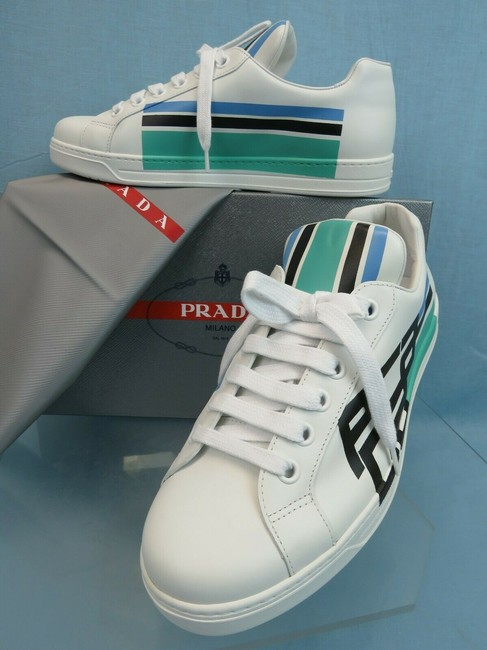 Item - White 4e3409 Leather Vitello Graphic Logo Low Top Sneakers 8.5 Us 9.5 Shoes