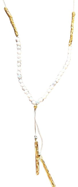 Item - Howlite (Light Grey and White) and Yellow Gold Power Gemstone Adjustable Lariat Necklace
