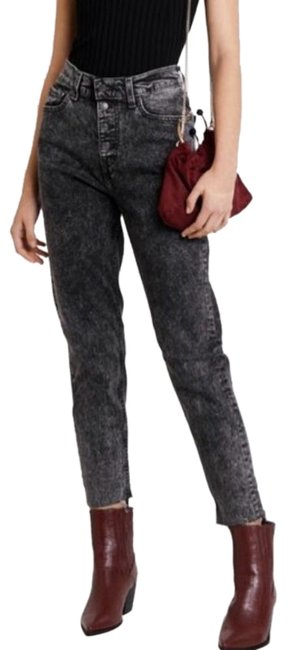 Item - Black Gray Acid Vintage Inspired Exposed Button Straight Leg Jeans Size 28 (4, S)