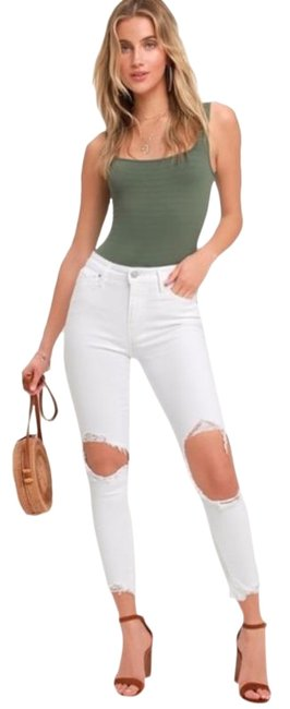 Item - White Distressed High Skinny Jeans Size 30 (6, M)