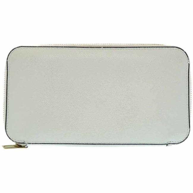 Item - Light Gray Leather Round Zipper Off-white Wallet