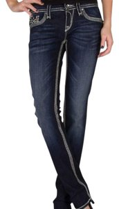 Rock Revival Embellished Faux Leather Sequins Straight Leg Jeans-Dark Rinse