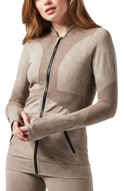 Item - Taupe New Supernova Seamless Jacket Full Zip Activewear Outerwear Size 12 (L)