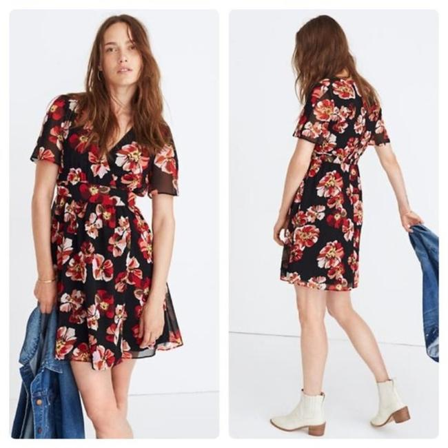 Item - Black / Red Floral Tulip-sleeve Mini In French Rose Short Casual Dress Size 00 (XXS)