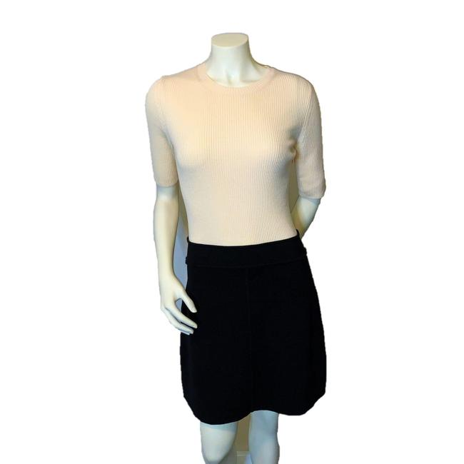 Item - Cream Ribbed Knit and Black Combo Short Work/Office Dress Size 8 (M)