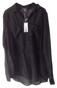 Buffalo David Bitton Silk Gauze Sheer Button Down Shirt Black