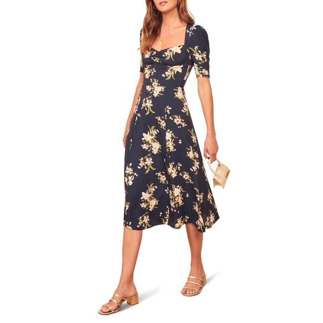 Item - Yolanda Matin Floral Sweetheart Ruched Neck Mid-length Night Out Dress Size 10 (M)