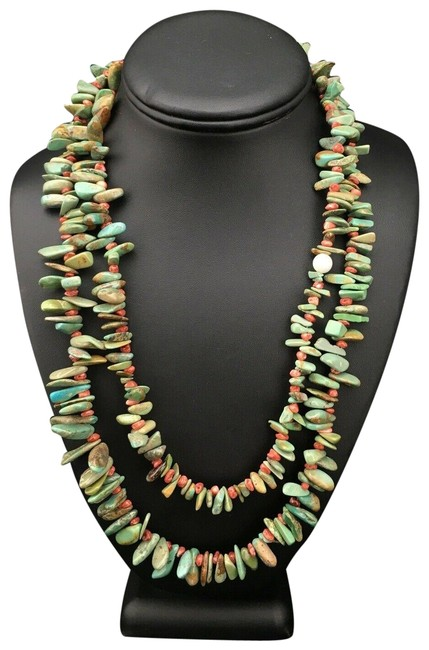 Item - Green Red Native American Sterling Silver Turquoise 4913 Necklace