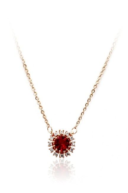 Item - Red 925 Rose Gold Sun Crystal Necklace