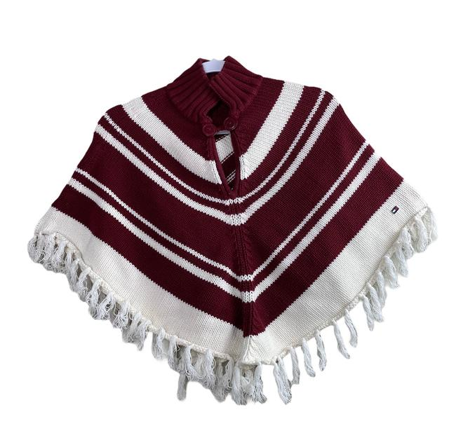 Item - White & Burgundy Chevron Poncho/Cape Size OS (one size)