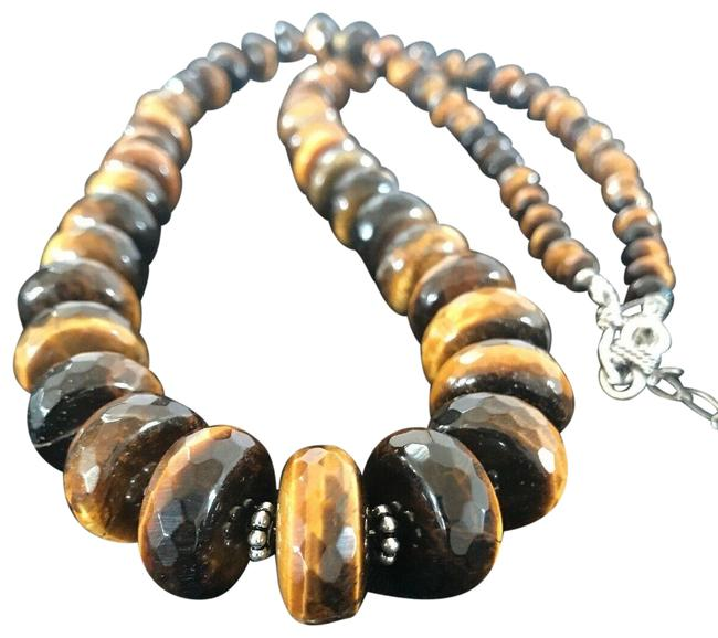 Item - Yellow Black Graduated Tigers Eye Picture Jasper Sterling Silver 1121 Necklace
