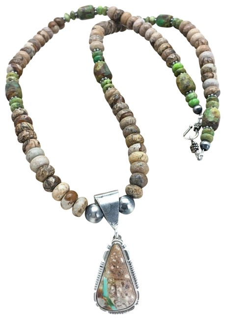Item - Green Brown Native American Sterling Silver Turquoise Jasper 2612 Necklace