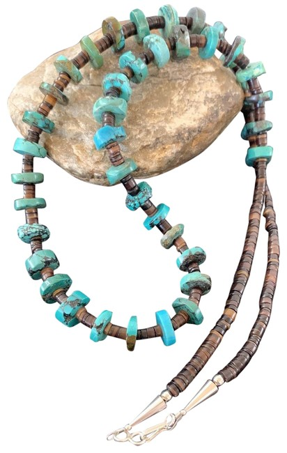 Item - Blue Brown Native American Turquoise Shell Sterling Silver 762 Necklace