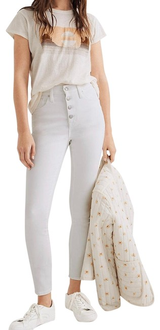 """Item - White 10"""" High Rise Button Front Skinny Jeans Size 12 (L, 32, 33)"""