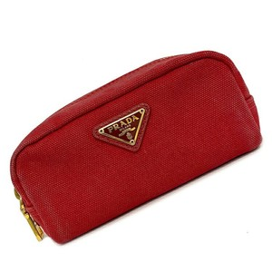 Prada Prada Mini Pouch Red Gold Hardware Pocono Canvas Ladies Fastener Cosmetic