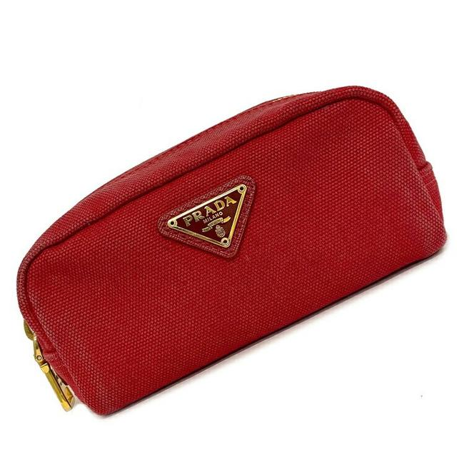 Item - Red Color Mini Pouch Gold Hardware Pocono Canvas Ladies Fastener Cosmetic Wallet