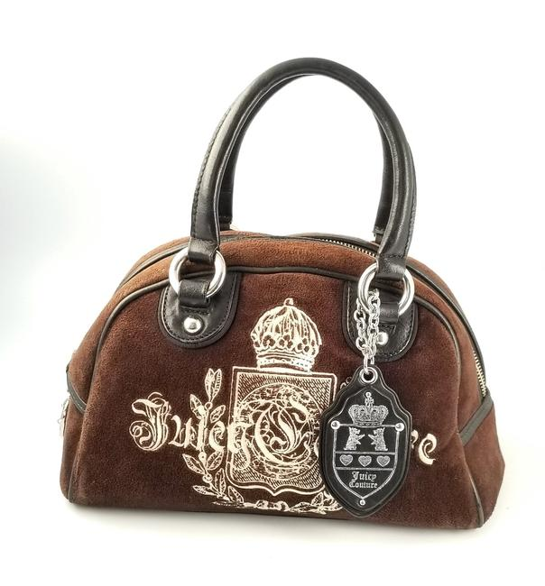Item - Embroidered Bowler Brown Velour Satchel