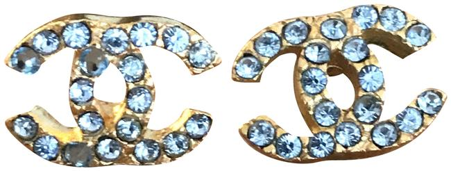 Item - Aquamarine and Gold Color Vintage Cc Costume Stud Earrings