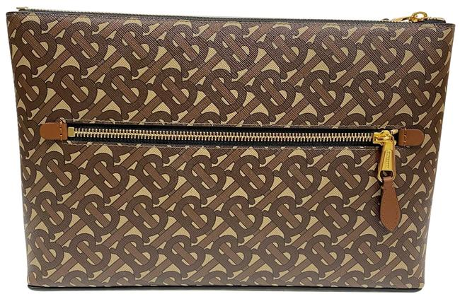 Item - Duncan Tb Monogram Brown Leather Clutch