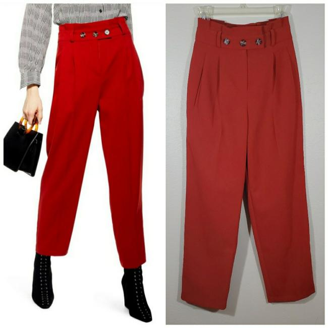 Item - Rust Orange Red Paperbag Button Tapered Pants Size 2 (XS, 26)