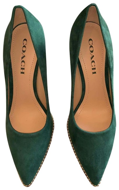 Item - Green and Gold Suede Pumps Size US 6.5 Regular (M, B)