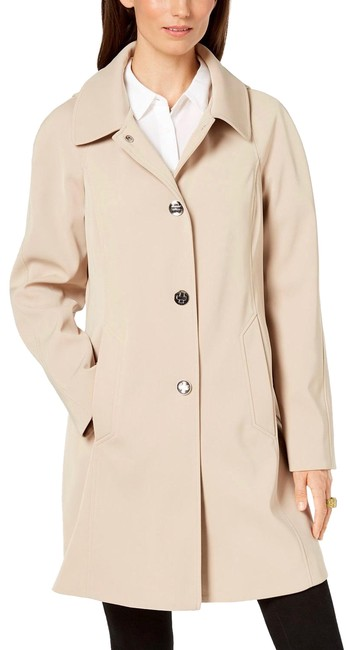 Item - Beige Hooded Snap-front Raincoat Coat Size 2 (XS)