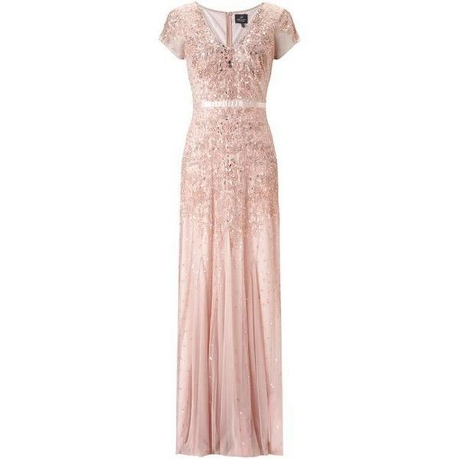 Item - Blush Beaded Cap-sleeve Embellished Gown Currant Long Formal Dress Size 4 (S)