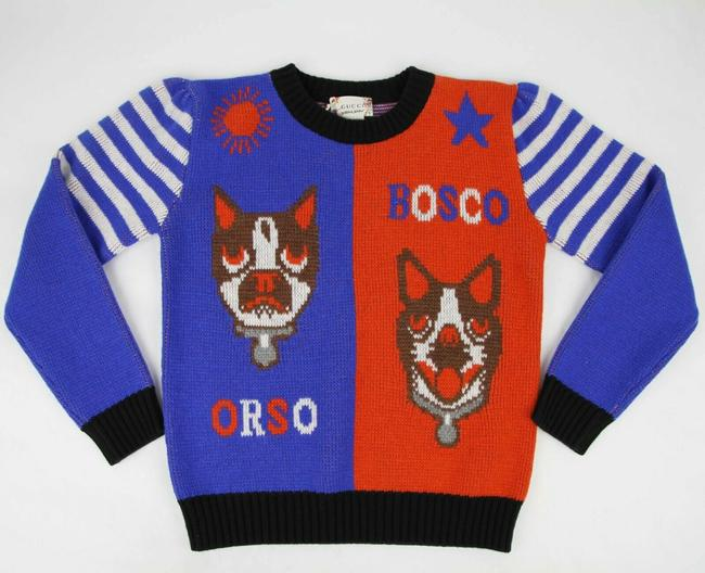 Item - Blue/Red Blue/Red Wool Pullover Sweater with Orso and Bosco 8 519015 4584 Groomsman Gift