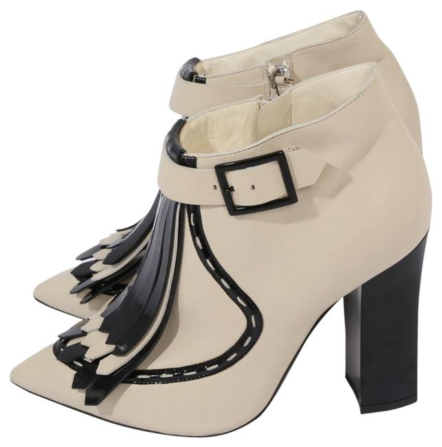 Item - Beige Black Leather Front Tassels Pointed Toe Ankle Boots/Booties Size US 8 Regular (M, B)