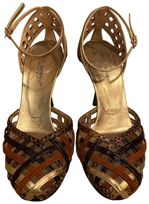 Item - Brown and Gold Strappy Sandals Size US 6.5 Regular (M, B)