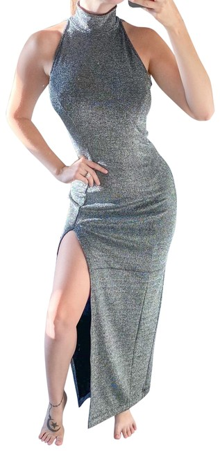 Tadashi Collection Silver Shimmer Fitted Slit Maxi Long Formal Dress Size 8 (M) Tadashi Collection Silver Shimmer Fitted Slit Maxi Long Formal Dress Size 8 (M) Image 1