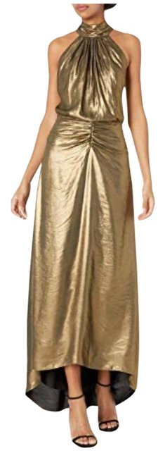 Item - Gold High Neck Long Formal Dress Size 2 (XS)