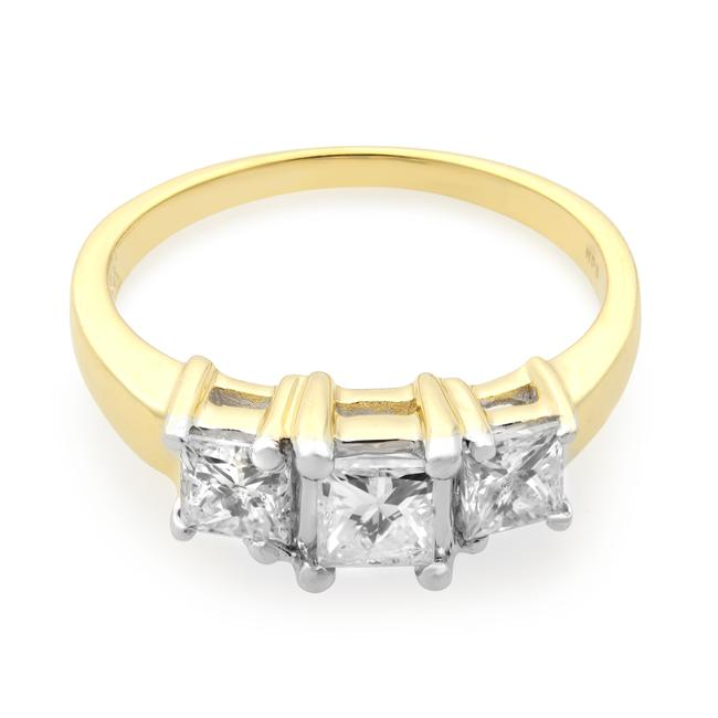 Item - 14k Yellow Gold Princess Cut Three Stone Engagement 1.00cttw Ring