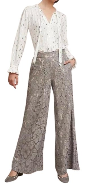 Item - Gray Anthro Feather Lace Palazzo Pants Size 8 (M, 29, 30)