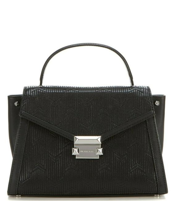 Item - Whitney Medium Quilted Top Handle Black/Silver Leather Satchel