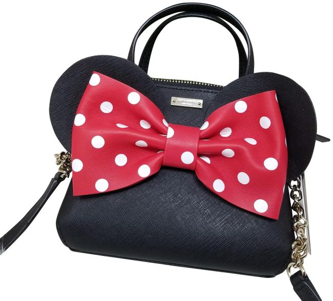 Item - Minnie Mouse Disney Minnie Mouse Mini Maise Wkru6606 Black White Red Lambskin Leather Cross Body Bag