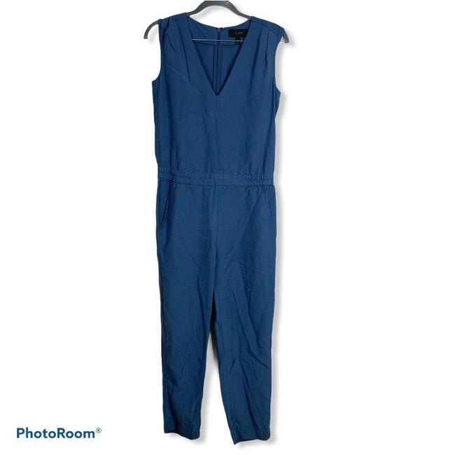 Item - Blue Drapey Oxford Crepe V Neck Size 00 #c6318 Romper/Jumpsuit