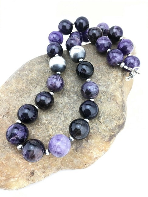 Item - Purple Silver Native American Sterling 1281 Necklace