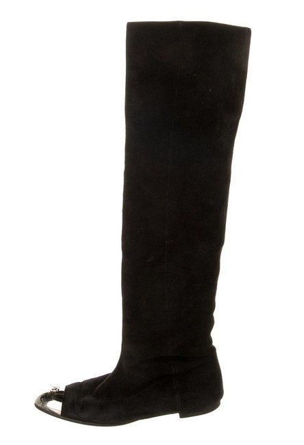 Item - Black Silver Metal Cap-toe Suede Over The Knee Otk Flat Boots/Booties Size EU 36.5 (Approx. US 6.5) Wide (C, D)