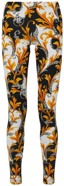 Item - Black Gold White Jersey Printed Stretch-jersey Leggings Size 6 (S, 28)