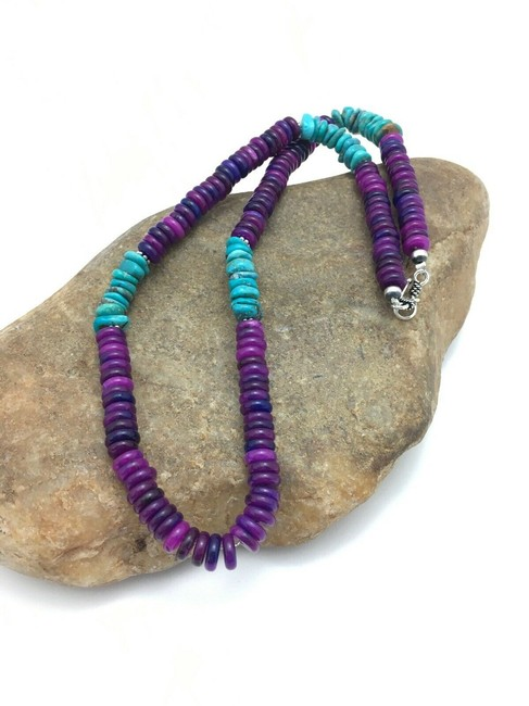Item - Purple Silver Sugilite Turquoise Bead Sterling 3280 Necklace