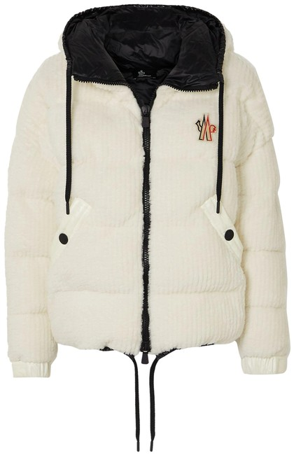 Item - White Grenoble Maglia Quilted Ribbed Fleece Down Jacket Coat Size 8 (M)