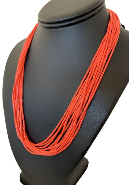 Handmade Red Orange Native American Stabilzed Coral Sterling Silver 20' 760 Necklace Handmade Red Orange Native American Stabilzed Coral Sterling Silver 20' 760 Necklace Image 1