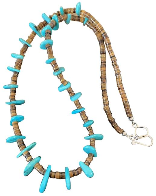 Item - Blue Brown Turquoise Sterling Silver Shell Bead 302 Necklace