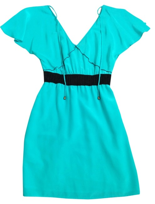 Preload https://item5.tradesy.com/images/tracy-reese-turquoise-with-black-trim-and-waist-band-frock-by-above-knee-short-casual-dress-size-4-s-2809969-0-0.jpg?width=400&height=650