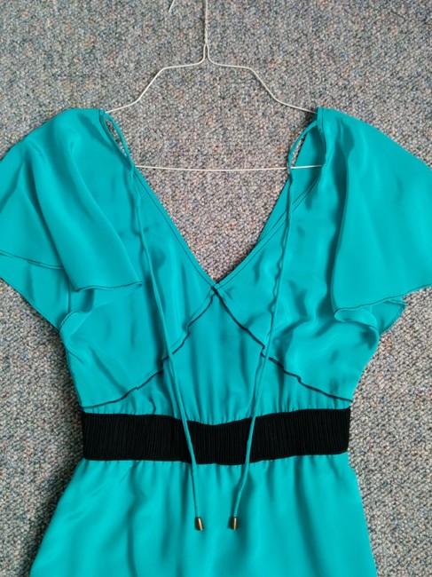 Tracy Reese short dress turquoise with black trim and waist band on Tradesy