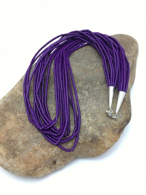 Item - Purple Silver Stabilized Sugilite Sterling Tube 4195 Necklace