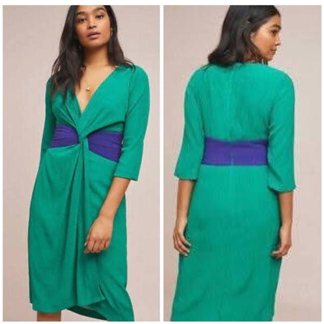 Item - Green Twist Sorley Front Mid-length Short Casual Dress Size 14 (L)