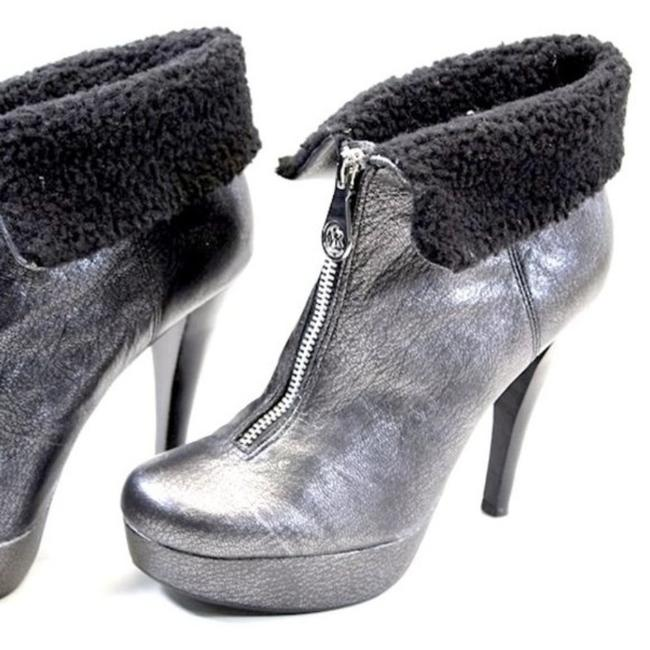 Item - Gray /Black Metallic Gunmetal Leather Boots/Booties Size US 8 Regular (M, B)
